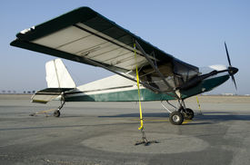 pic of ultralight  - A home-built ultralight single-place aircraft constructed from a kit ** Note: Shallow depth of field - JPG