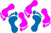 picture of threesome  - Vector illustration of feet representing a threesome - JPG