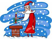 pic of maliciousness  - Cartoon Illustration of Malicious Funny Santa Claus or Papa Noel on the Roof with Stick of Dynamite as Christmas Present - JPG