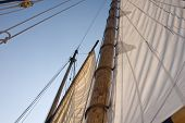 image of sailing-ship  - close up of sails from the Schooner Fame in Salem Massachusetts - JPG