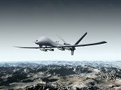 foto of striking  - Illustration of a combat drone flying over barren mountains - JPG