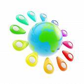 Geo Tag Emblems Around Earth Globe Isolated