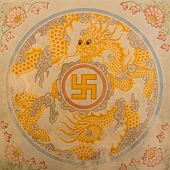 image of swastika  - Swastika symbol in decoration in a ancient temple in Vietnam  - JPG