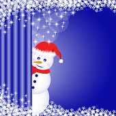 Snowman Behind Curtain