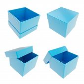 stock photo of parallelogram  - Set of four parallelogram cube shaped glossy blue gift boxes isolated on white background - JPG