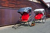 pic of rickshaw  - Japanese Rickshaw in the Old Town of Hida - JPG