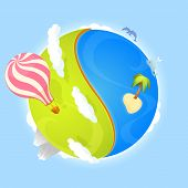 colorful illustration of a cute small planet with ocean