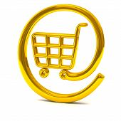 Golden online shopping basket icon 3d