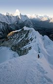 picture of sherpa  - two climbers about to summit island peak in nepal - JPG