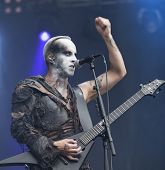 Polish blackened death metal  band Behemoth performs live on stage