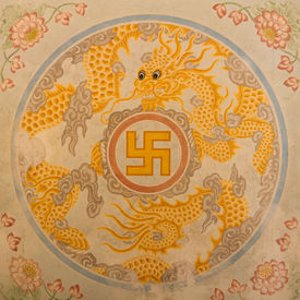 picture of swastika  - Swastika symbol in decoration in a ancient temple in Vietnam  - JPG