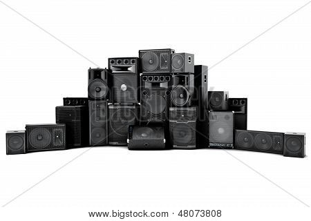 Large group of speakers in a row poster