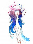 picture of ombre  - Stylish Illustration of a Girl with Purple Hair - JPG