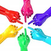 Hands Colorful Circle Pointing Inward Top