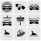Lavado de coches Icons(signs) Set de limpieza coche - Vector Graphic