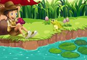 Illustration of a boy and a frog at the riverbank
