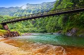 Tahiti. The bridge through the river in mountains.