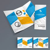 Professional business three fold flyer template, corporate brochure or cover design, can be use for
