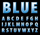 vector alphabet in shiny blue color