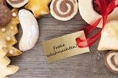 Christmas Cookie Background With Frohe Weihnachten