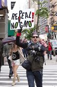 NEW YORK-MAY 25: A protestor on Broadway holds a sign that says 'Repeal! No GMO' during the March Against Monsanto from Union Square in the global movement against GMO's on May 25, 2013 in New York.
