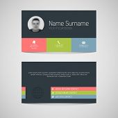 Modern simple dark business card template with flat user interface