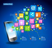 Mobile phone with cloud of application icons, concept network. Creative Business infographics and In