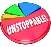 Constant growth illustrated by a pie chart and a large and growing share with the word Unstoppable t
