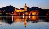 The old romanic bridge of Ponte de Lima by night