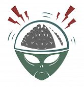 foto of inhumane  - Vector illustration of alien mega brain invader - JPG