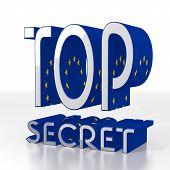 3D Render Of A European Top Secret Symbol  With Eu Flag Pattern