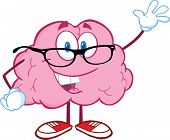 Smiling Brain Teacher Character Waving For Greeting