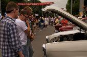 people looks at old soviet retro car