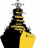 image of battleship  - Vector illustration on marine travel and transportation - JPG