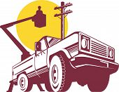 stock photo of lineman  - Vector illustration on construction vehicles and equipment - JPG