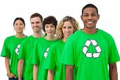 Smiling group of environmental activists on white background