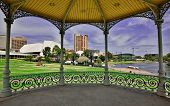 Adelaide and Torrens River framed by the Elder Park Rotunda