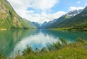 Picturesque scenery of norwegian fjord