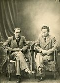 Vintage photo of two brothers, forties