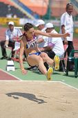DONETSK, UKRAINE - JULY 13: Florentina Marincu, Romania, fight for her gold medal in long jump durin