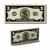 stock photo of two dollar bill  - vector two dollar paper bill banknote - JPG