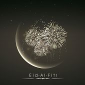 Shiny illustration of crescent of moon with fireworks in the night on occasion of muslim community f