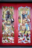 pic of gatekeeper  - Image of Chinese temple doors with very colourful guardian deities - JPG