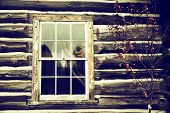 Old Log Home Wall With Window - Nostalgic
