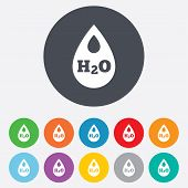 picture of teardrop  - H2O Water drop sign icon - JPG