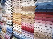 Carpet Samples on a Rack in Decorator Showroom