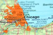 A closeup of Chicago, Illinois in the USA on a map