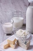 Set Of Products Brie, Blue Cheese, Cottage Cheese And Milk