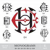Vintage Monograms EH EK EA EO EB EJ EW