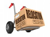 image of hand truck  - Cardboard Box with Warehouse Relocation on Hand Truck White Background - JPG